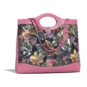 Chanel Pink:Black:Green:Yellow Patent Calfskin Printed Chanel 31 Large Shopping Bag