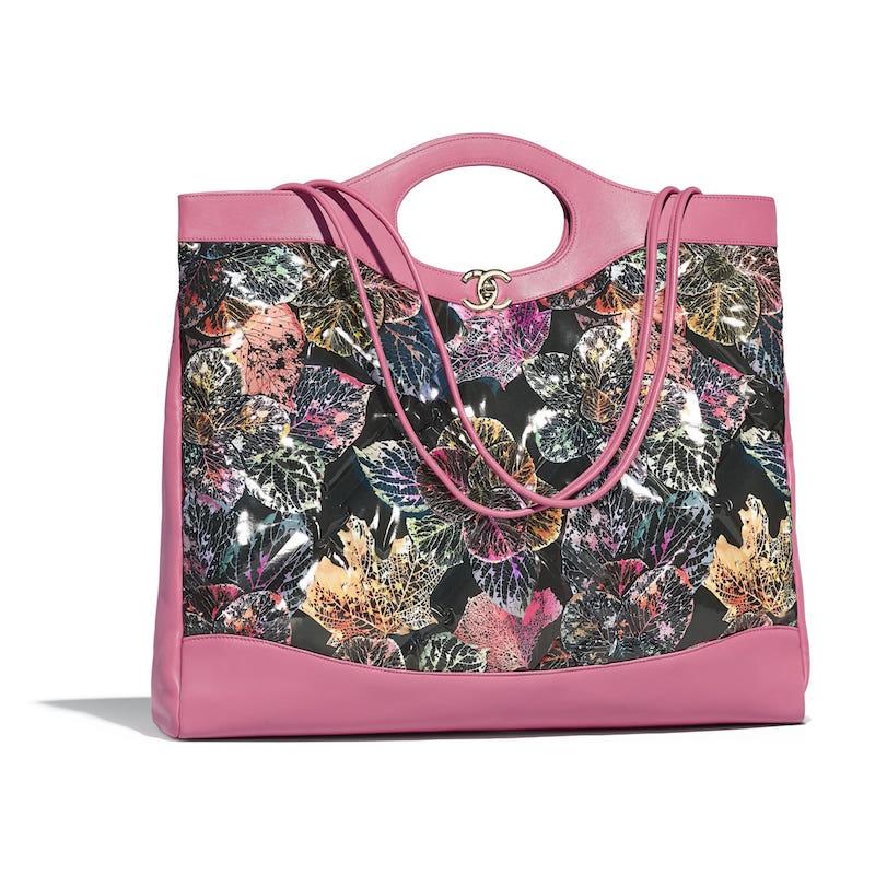374980076b6b Chanel Pink:Black:Green:Yellow Patent Calfskin Printed Chanel 31 Large Shopping  Bag
