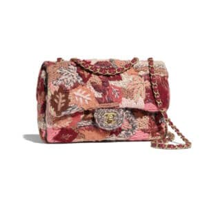 Chanel Pink:Red:Gray Embroidered Wool Flap Bag