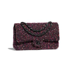 Chanel Purple:Black:Pink:Burgundy Tweed:Black Metal Classic Flap Medium Bag