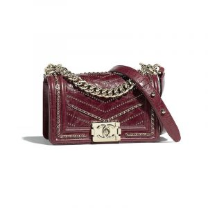 Chanel Red Crumpled Calfskin Studded Boy Chanel Small Flap Bag