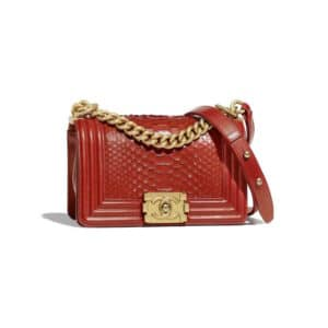 Chanel Red Python Boy Chanel Small Flap Bag