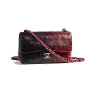Chanel Red:Black:Purple Python Classic Flap Mini Bag