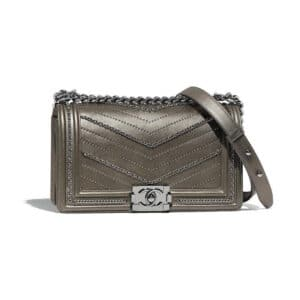 Chanel Silver Studded Boy Chanel Old Medium Flap Bag