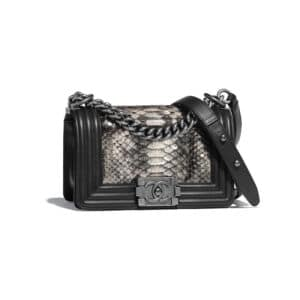 Chanel Silver:Black Python Boy Chanel Small Flap Bag