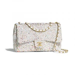 Chanel White Sequined Flap Bag
