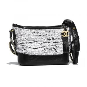 Chanel White:Black Sequins:Wool Gabrielle Small Hobo Bag