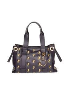 Chloe Black Horse Embroidered Tao Tote Bag