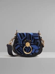Chloe Black/Blue Woven Geometric Print Small Tess Bag