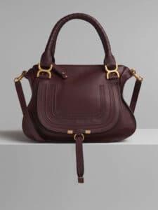 Chloe Burnt Brown Small Grain Calfskin Marcie Top Handle Bag
