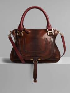 Chloe Sepia Brown Watersnake Print Marcie Top Handle Bag