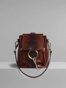 Chloe Sepia Brown Watersnake Print Mini Faye Backpack Bag