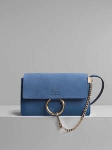Chloe Vinyl Blue Faye Small Shoulder Bag