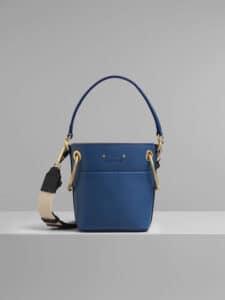 Chloe Vinyl Blue Mini Roy Bucket Bag