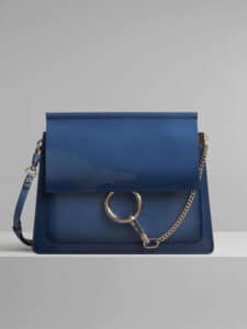 Chloe Vinyl Blue Spazzolato Sfumato Faye Shoulder Bag