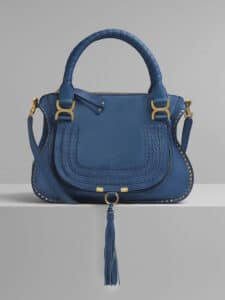 Chloe Vinyl Blue Suede Calfskin Marcie Top Handle Bag