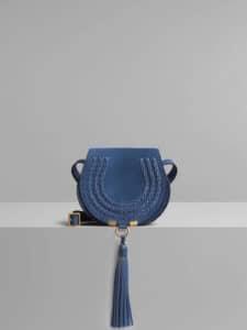 Chloe Vinyl Blue Suede Calfskin Mini Marcie Bag