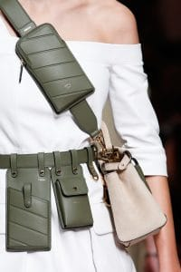 Fendi Beige Mini Peekaboo and Army Green Utility Belt Bag- Spring 2019