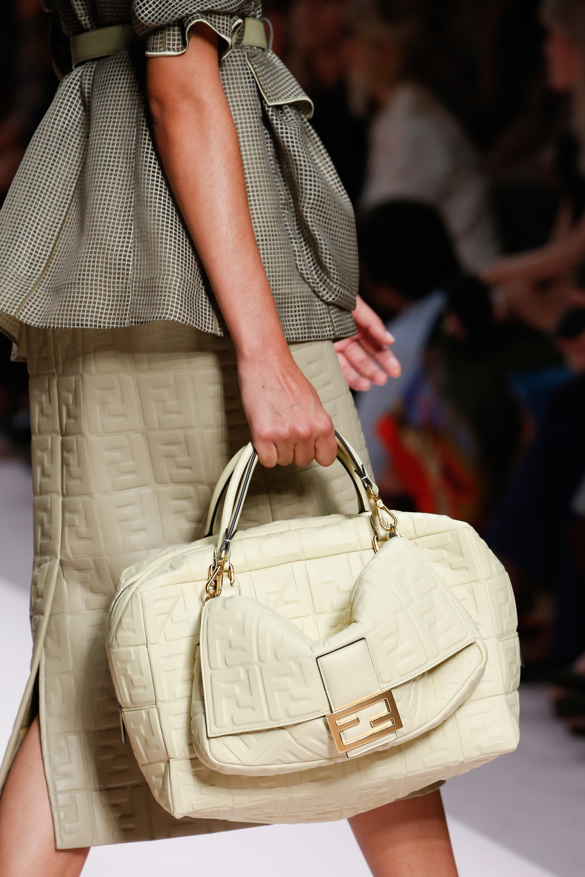 b69390ceb5b Fendi Off-White Embossed Baguette and Duffle Bags - Spring 2019