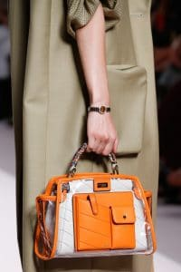 Fendi Orange/White PVC/Leather Peekaboo Defender Bag - Spring 2019
