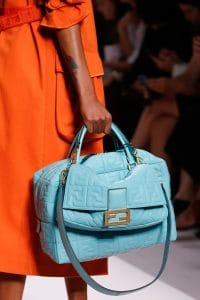 Fendi Sky Blue Embossed Leather Baguette and Duffle Bag - Spring 2019