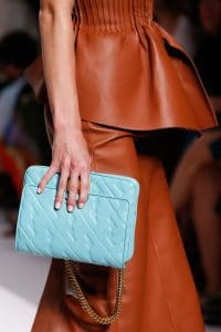 Fendi Sky Blue Embossed Leather Flap Bag - Spring 2019