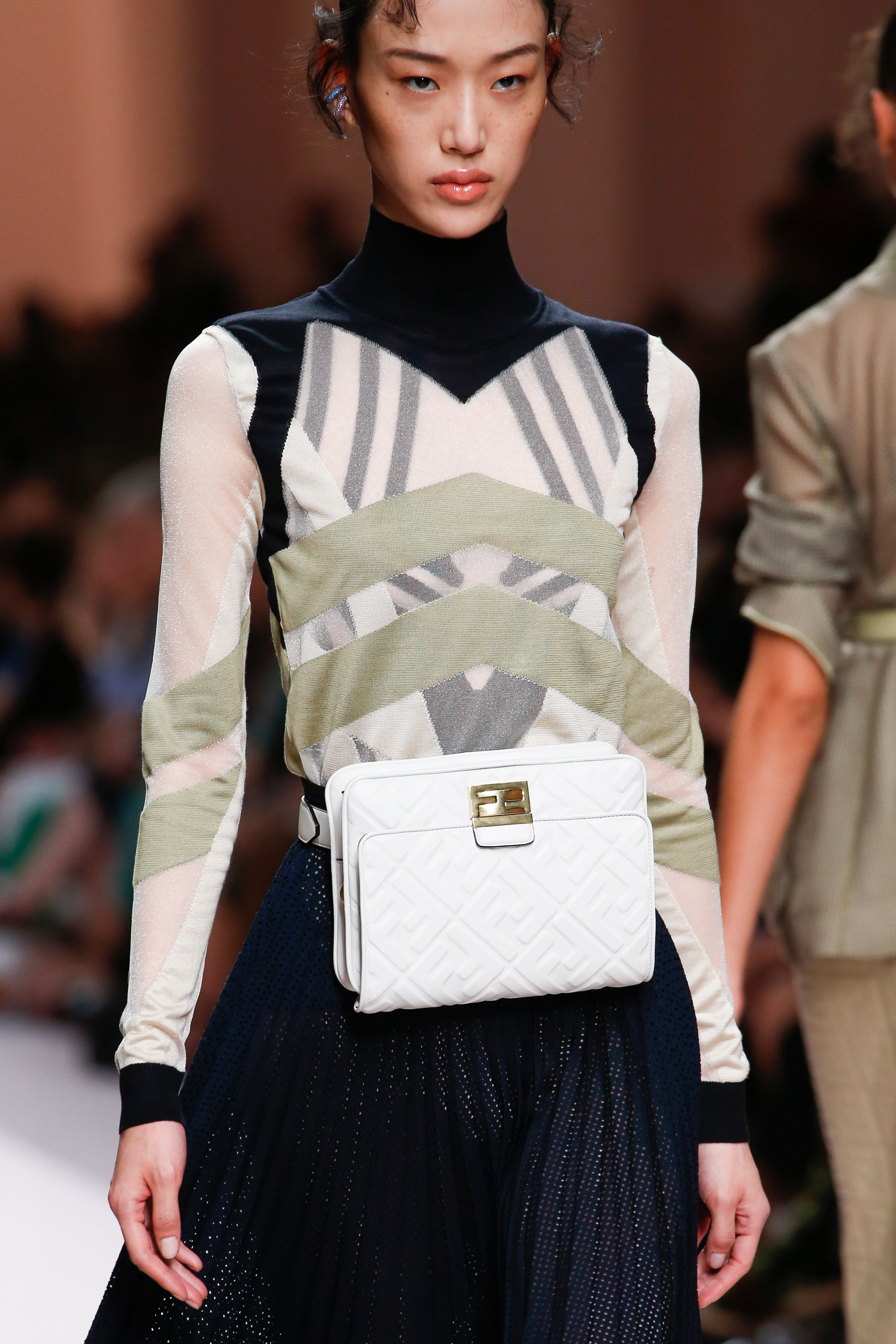 946db60784e Fendi White Embossed Leather Belt Bag - Spring 2019