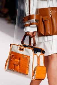 Fendi White/Orange Leather:Crocodile Peekaboo Defender Bag - Spring 2019