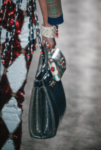 Gucci Gray Crocodile Top Handle and Strawberry Print Mini Flap Bags - Spring 2019