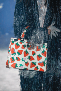 Gucci White/Red Strawberry Print Top Handle Bag - Spring 2019