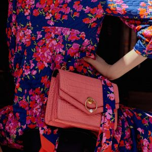 Mulberry Coral Croc Print Harlow Satchel Bag