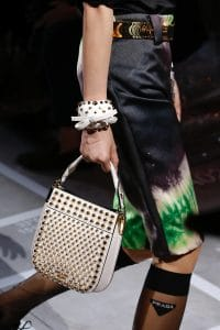 Prada White Studded Mini Hobo Bag - Spring 2019