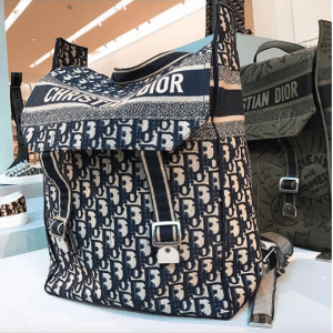 Dior Blue Oblique Canvas and Green Embroidered Backpack Bags 2 - Spring 2019