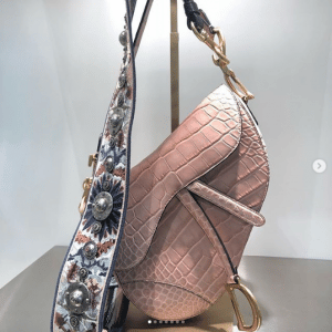 Dior Pink Crocodile Saddle Bag - Spring 2019