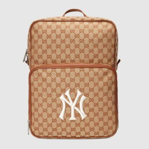 Gucci Beige/Brick GG Canvas NY Yankees Medium Backpack Bag