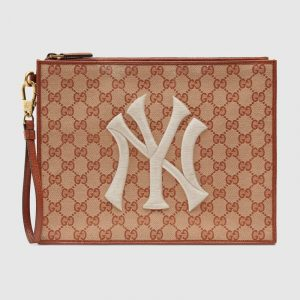 Gucci Beige/Brick GG Canvas NY Yankees Pouch Bag