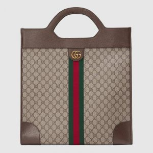 Gucci Beige/Ebony GG Supreme Ophidia Large Top Handle Tote Bag