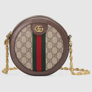 Gucci Beige/Ebony GG Supreme Ophidia Mini Round Shoulder Bag