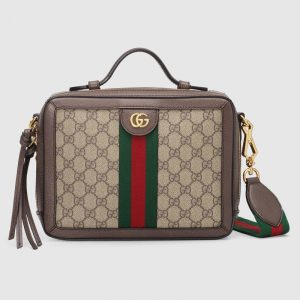 Gucci Beige/Ebony GG Supreme Ophidia Small Shoulder Bag