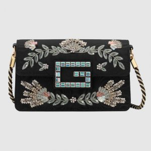 Gucci Black Embroidered G Shoulder Bag