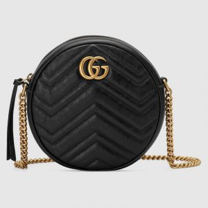 Gucci Black Matelassé Chevron GG Marmont Mini Round Shoulder Bag