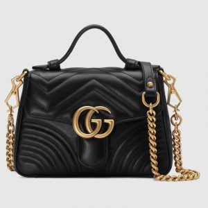 Gucci Black Matelassé Chevron GG Marmont Mini Top Handle Bag