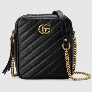 Gucci Black Matelassé GG Marmont Mini Shoulder Bag