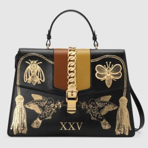 Gucci Black Printed Sylvie Maxi Top Handle Bag