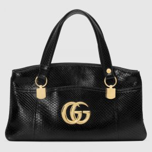 Gucci Black Python Arli Large Top Handle Bag