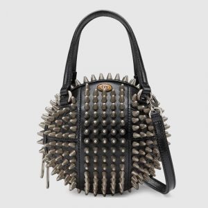 Gucci Black Spiked Basketball Shaped Mini Shoulder Bag