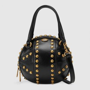 Gucci Black Studded Basketball Shaped Mini Shoulder Bag