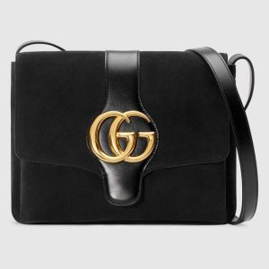 Gucci Black Suede Arli Medium Shoulder Bag