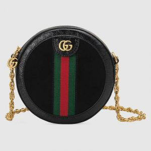Gucci Black Suede Ophidia Mini Round Shoulder Bag