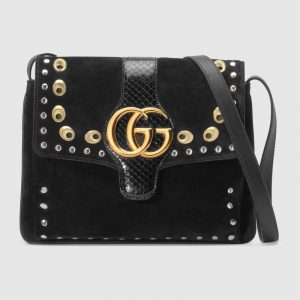 Gucci Black Suede/Snakeskin Studded Arli Medium Shoulder Bag